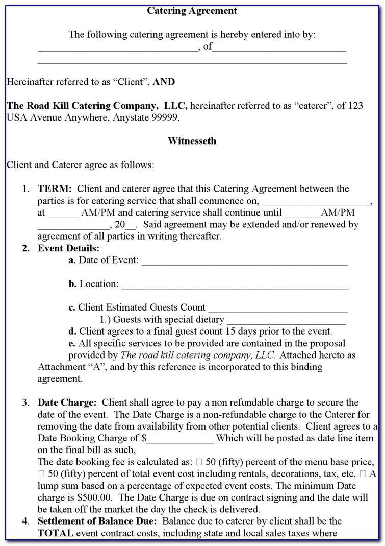 Banquet Room Rental Contract Template