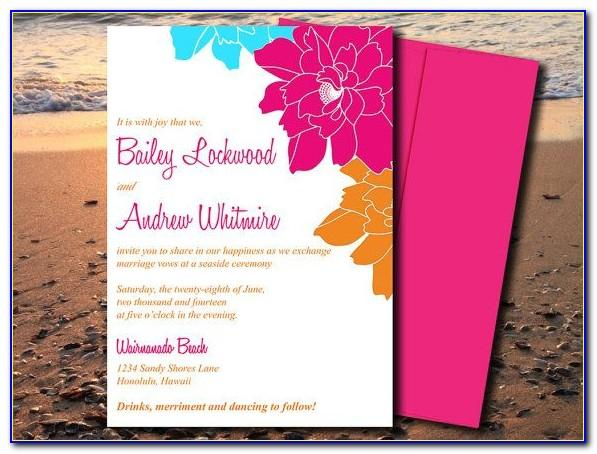 Beach Wedding Invitation Cards Templates