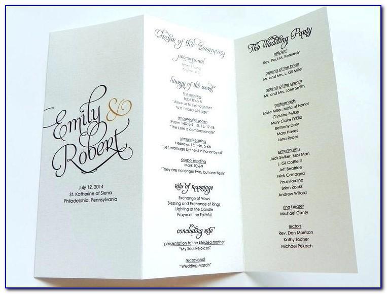 Bi Fold Wedding Program Templates Free
