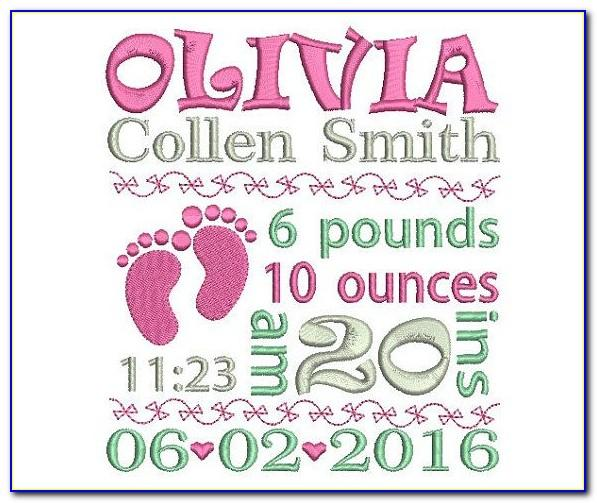 Birth Announcement Embroidery Design Template