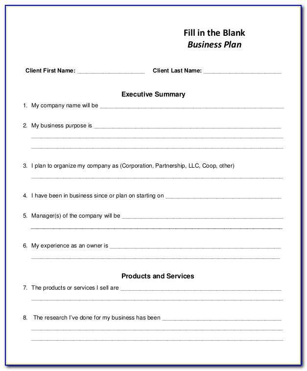 Blank Business Plan Template Free