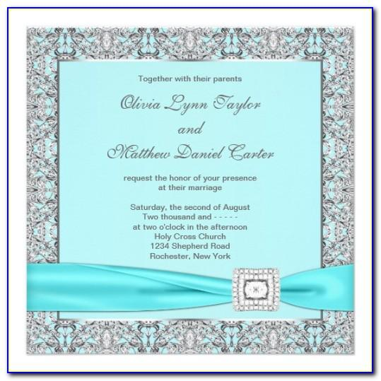 Blue And Silver Wedding Invitations Templates