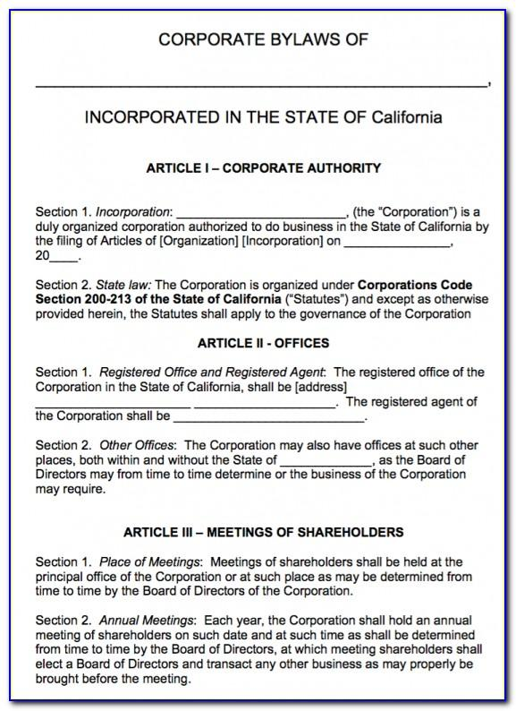 Bylaws Template For Corporation