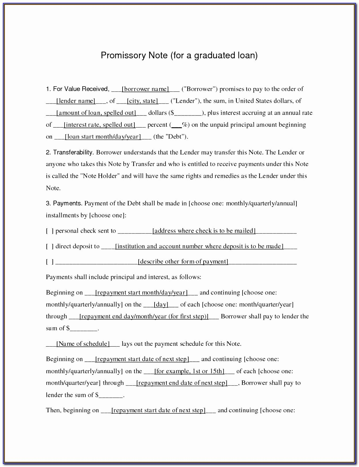 Ca Promissory Note Template Free