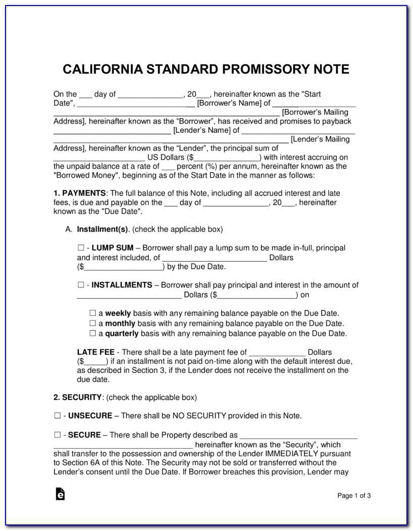 California Promissory Note Template Free