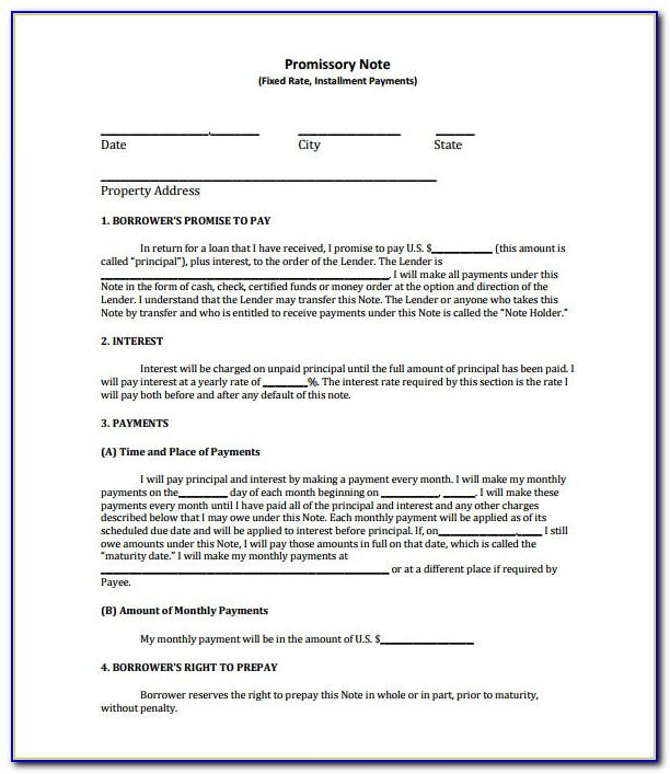 California Unsecured Promissory Note Template