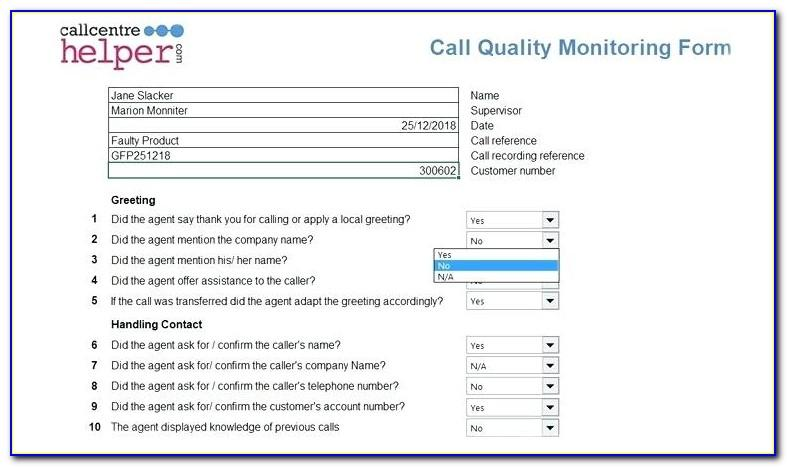 Call Center Quality Scorecard Template Excel Download
