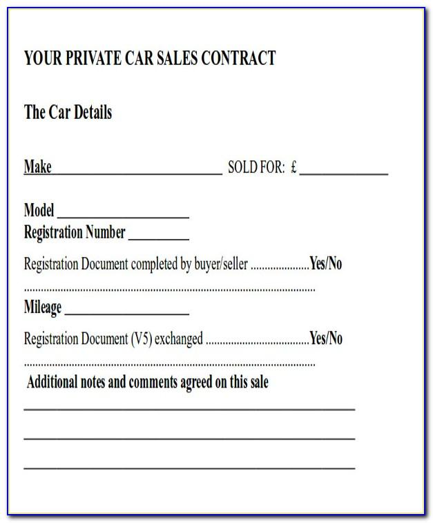 Car Sale Contract Template Nsw
