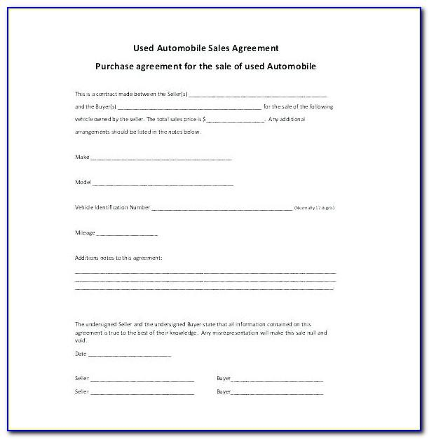 Car Sale Contract Template Queensland