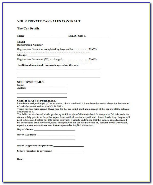 Car Sale Contract Template Uk