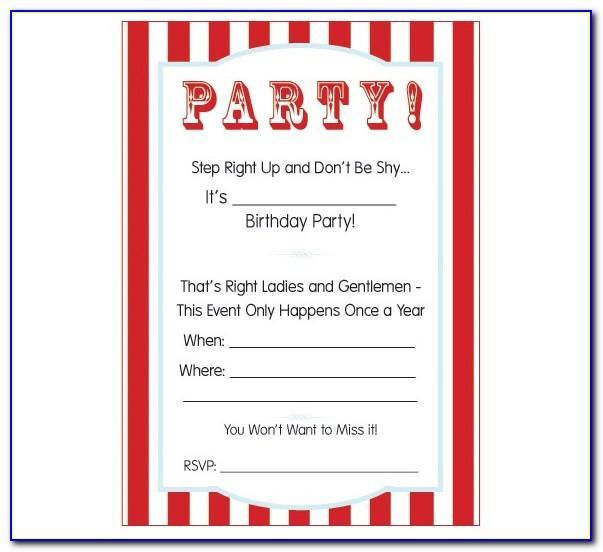 Carnival Birthday Invitations Template Free