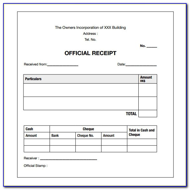 Cash Receipt Form Excel