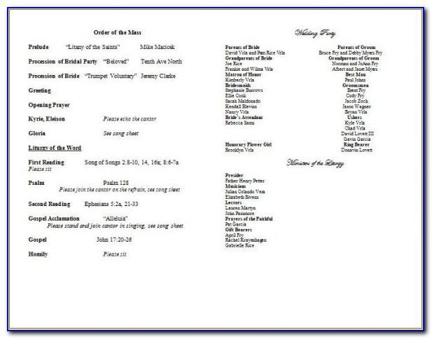 Catholic Church Wedding Program Examples