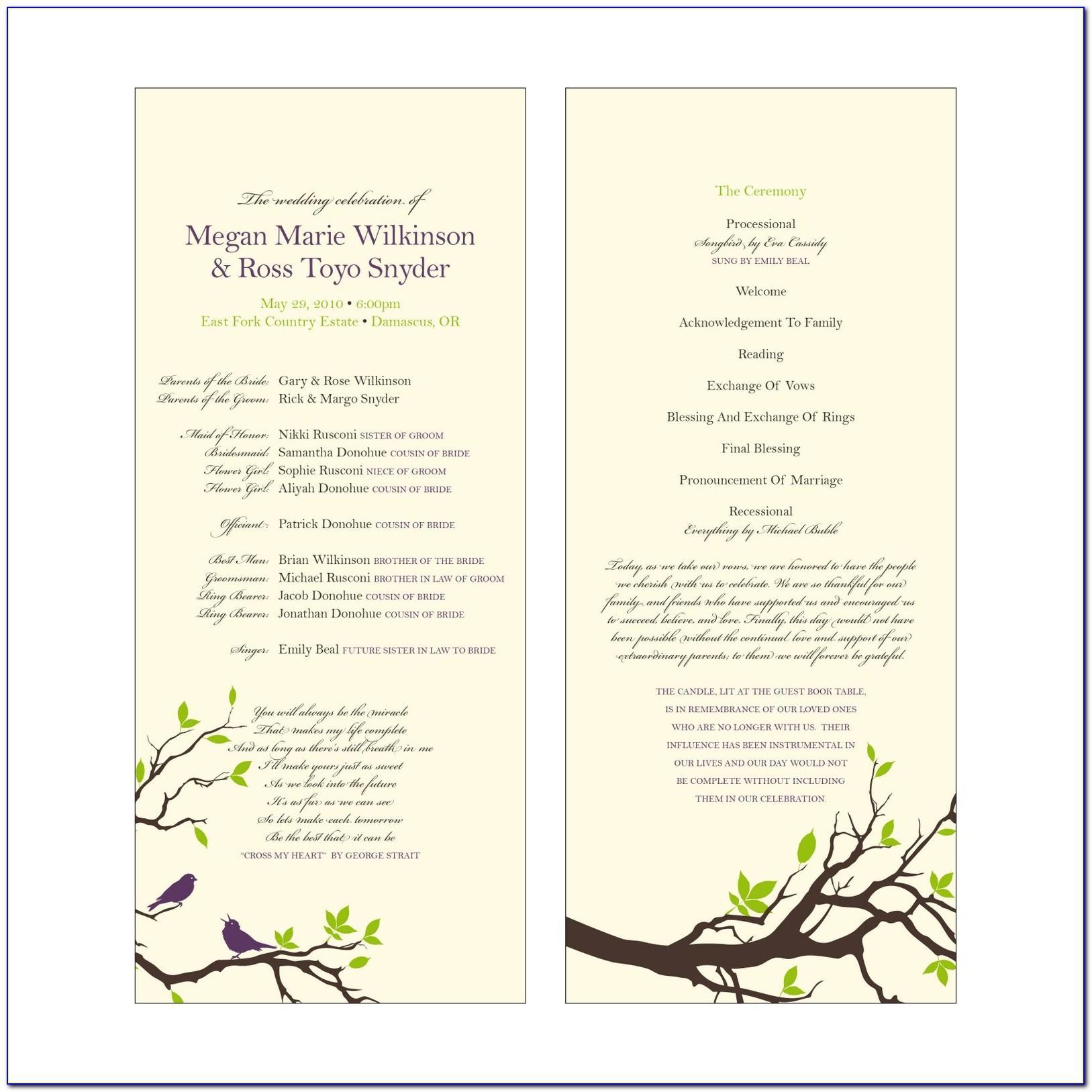 Catholic Wedding Mass Program Examples