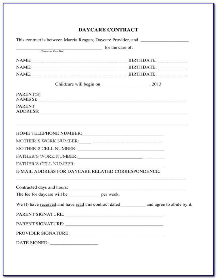 Child Care Contract Form