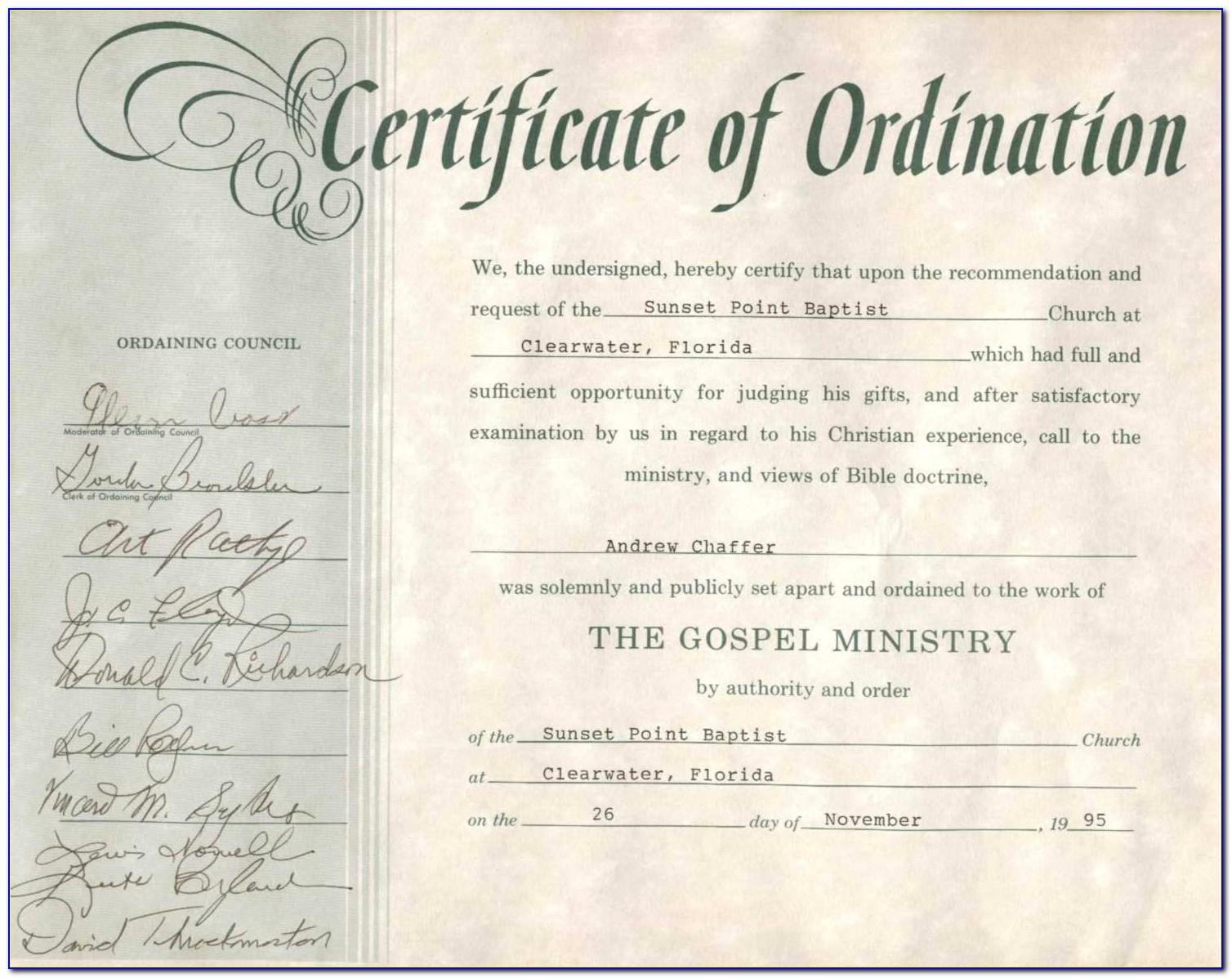 Church Ordination Certificates Templates