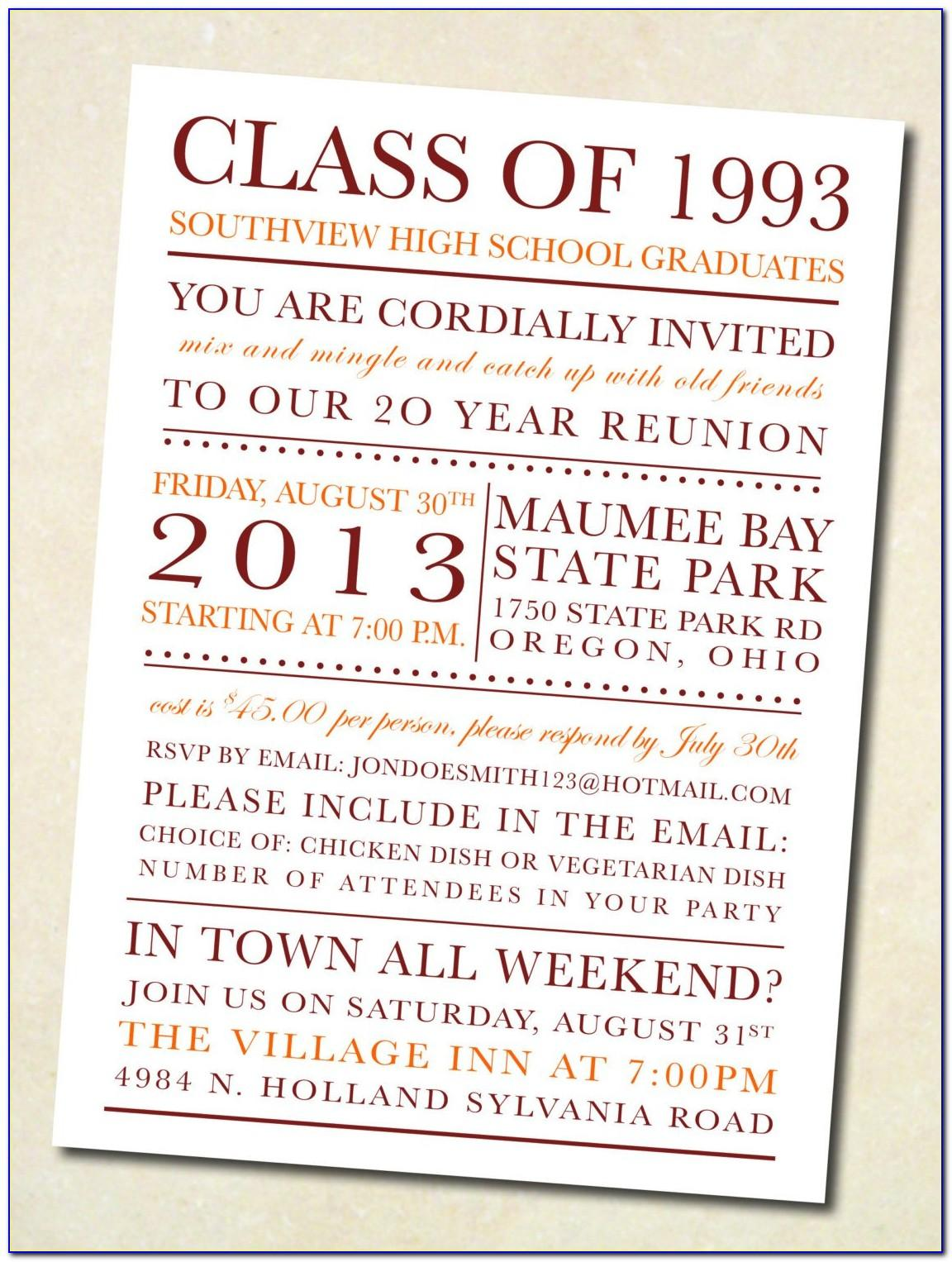 Class Reunion Invitation Template Word