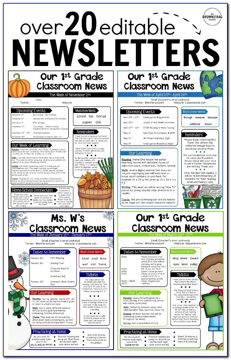 Classroom Monthly Newsletter Templates Free