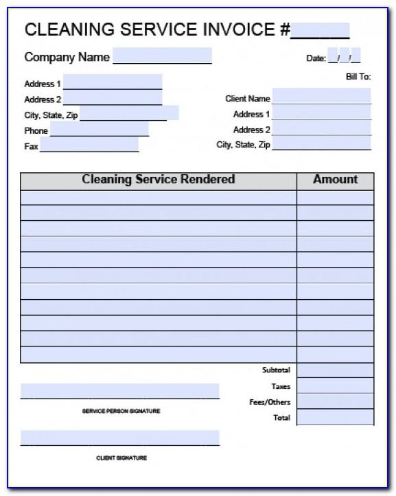 Cleaning Service Invoice Template Free