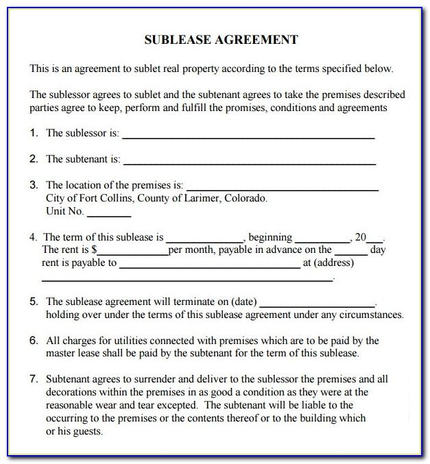 Commercial Sublease Agreement Template South Africa