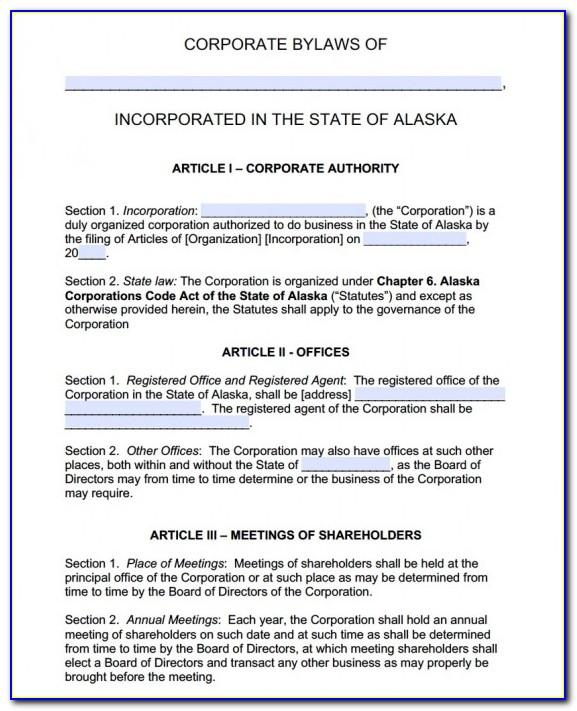 Company Bylaws For Corporations Template