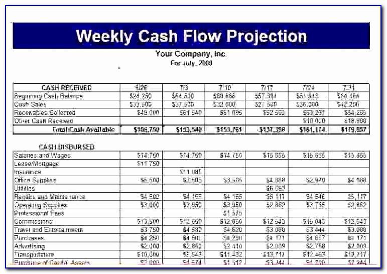Construction Cash Flow Projection Template
