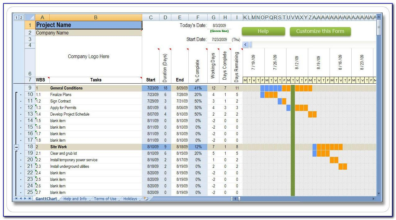 Construction Projects Template Excel