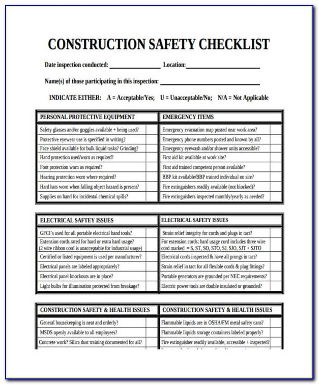 Construction Safety Inspection Checklist Form