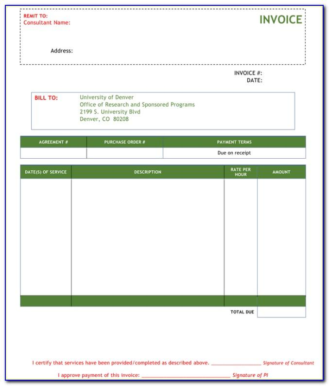 Consultant Invoice Template Word Doc