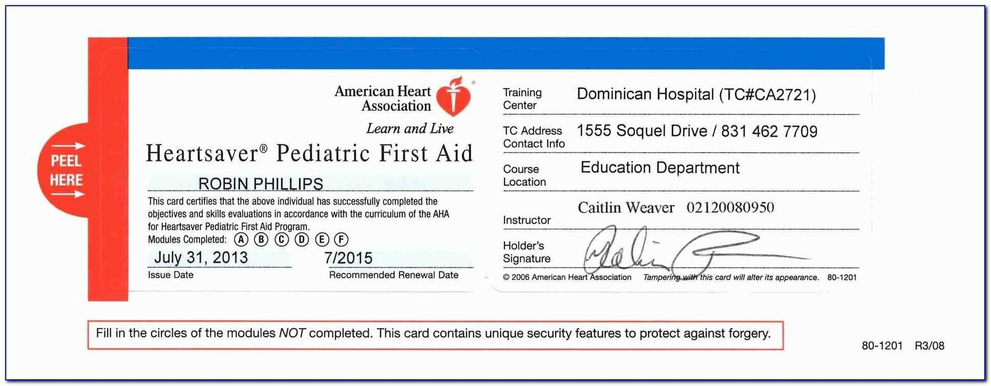 Cpr Certification Card Template