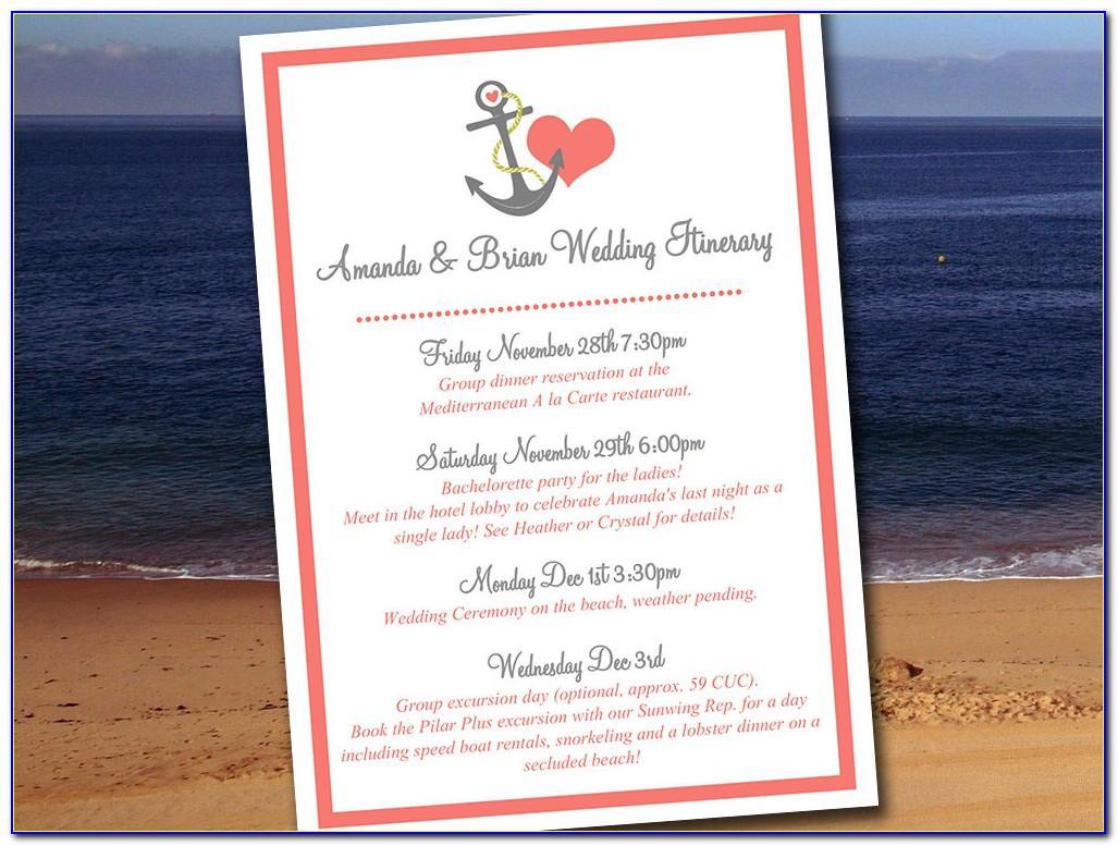 Destination Wedding Guest Itinerary Template