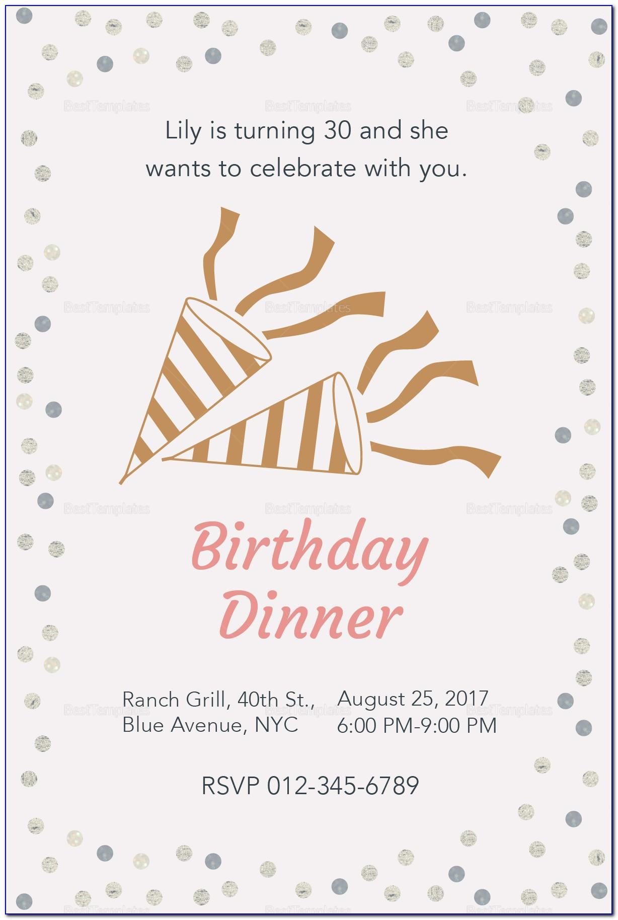 Dinner Invitation Template Free
