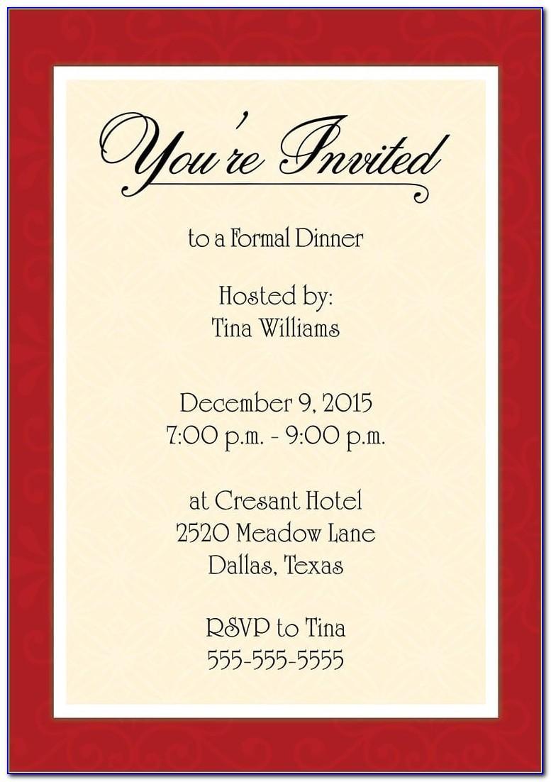 Dinner Invite Template Word