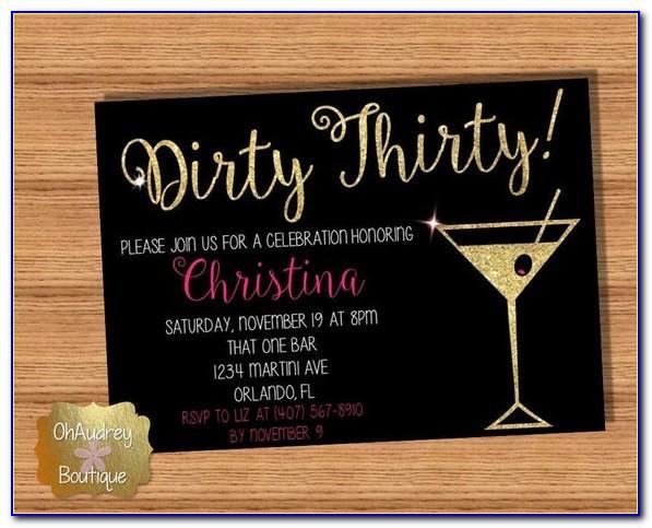 Dirty 30 Birthday Invitation Templates