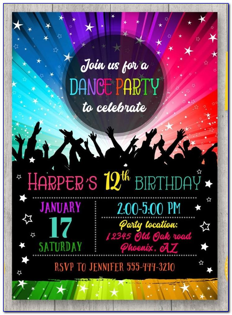 Disco Dance Party Invitations Template