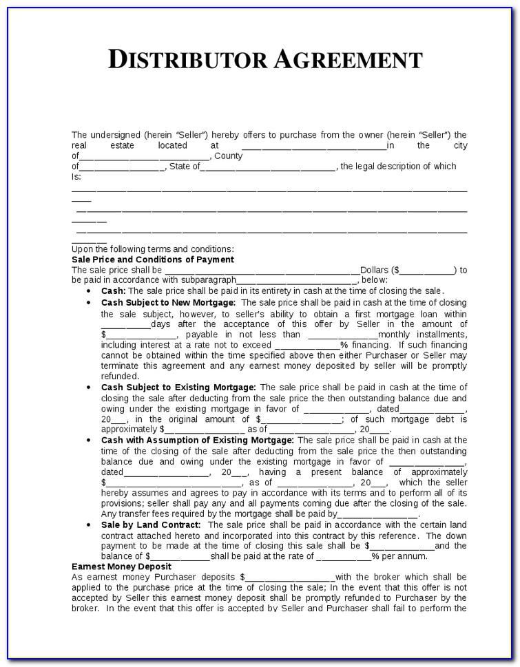 Distributor Contract Agreement Template