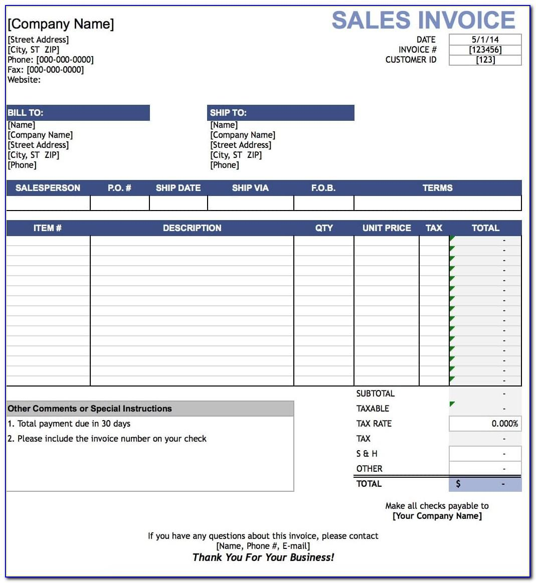 Download Sales Invoice Template Word