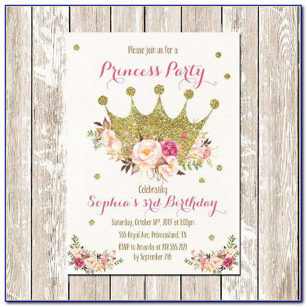 Editable Princess Birthday Invitations Templates Free