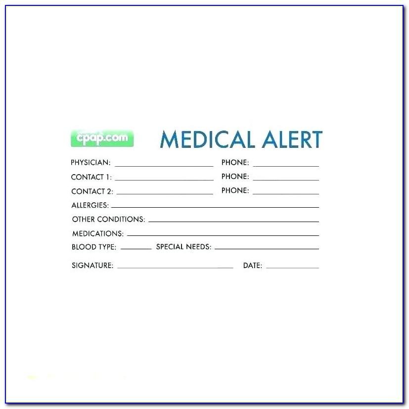 Emergency Medical Id Card Template