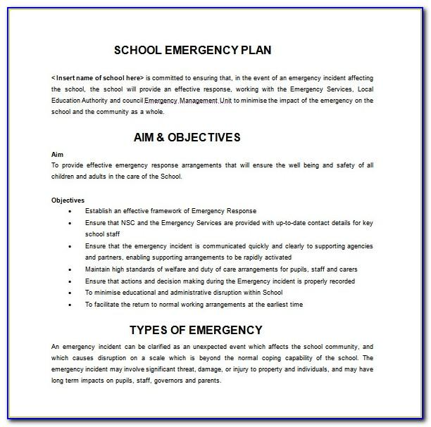 Emergency Plan Template For Schools