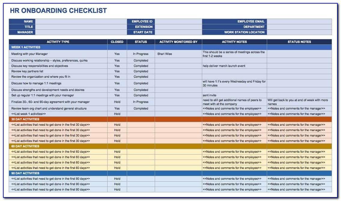 Employee Onboarding Checklist Form