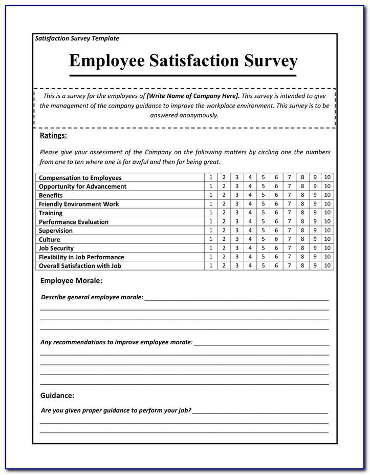 Employee Satisfaction Survey Template Pdf
