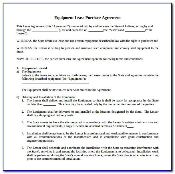 Equipment Lease Agreement Template California