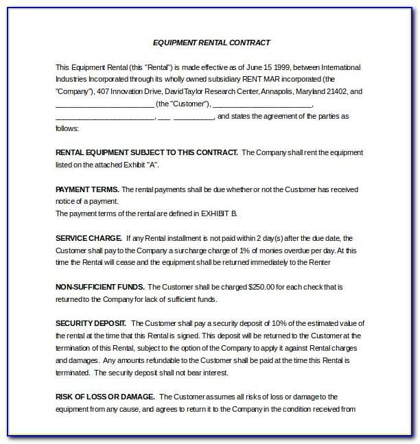 Equipment Lease Agreement Template Pdf