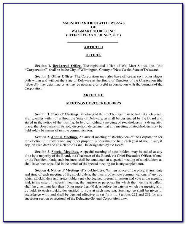 Example Bylaws For Corporation