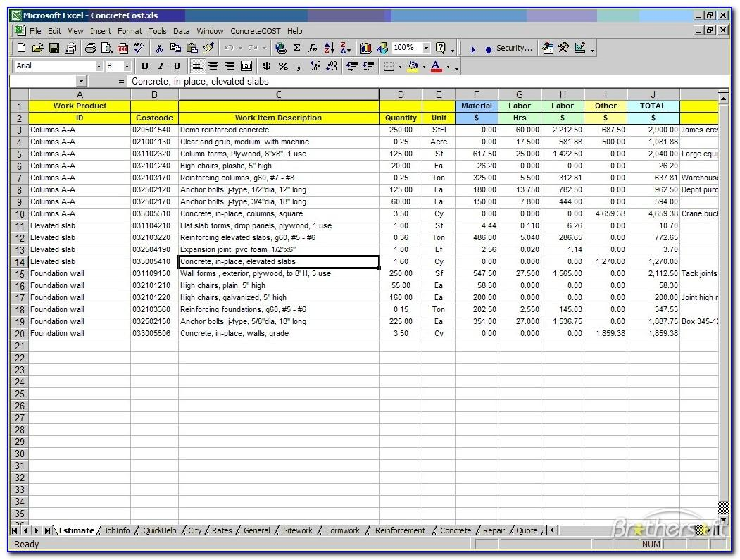 Excel Template For Construction Estimate