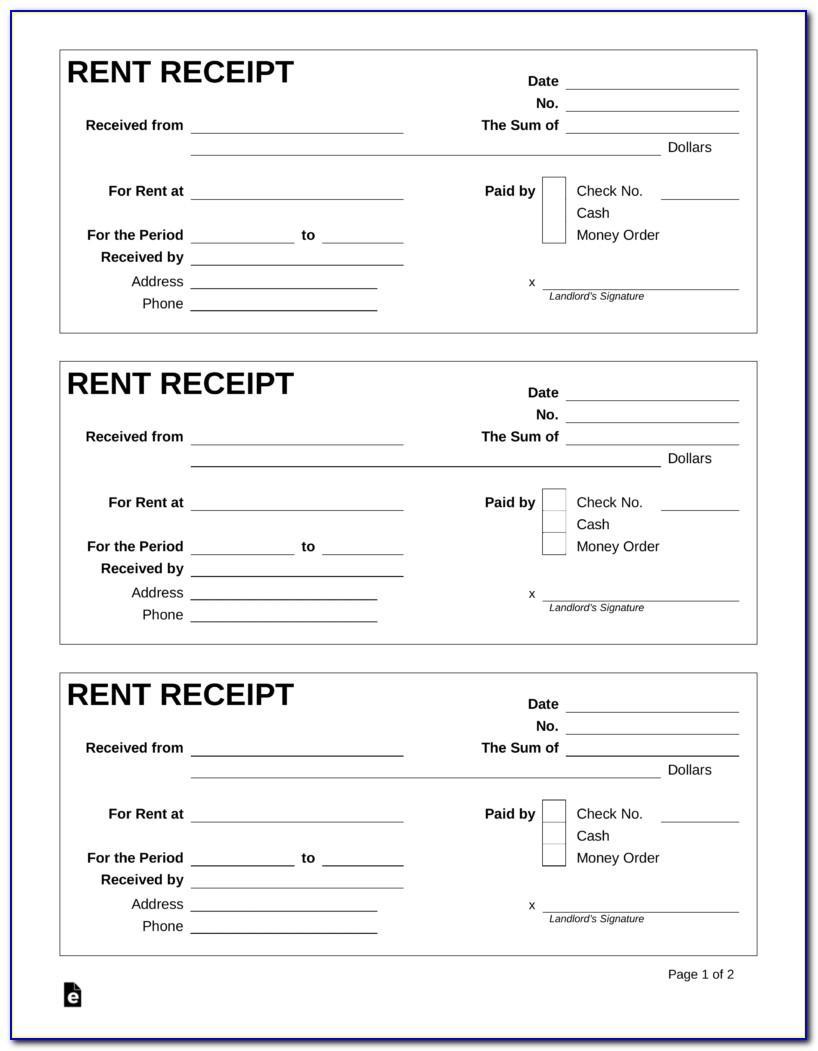 Fillable Rent Receipt Template Ontario