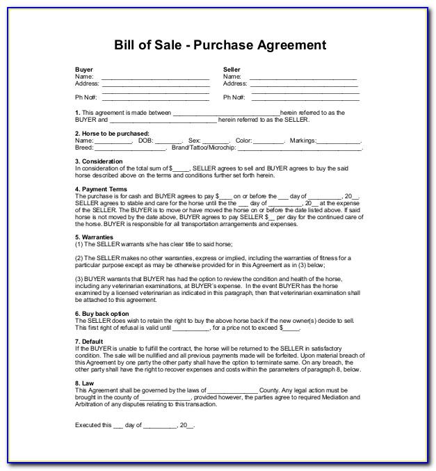 First Right Of Refusal Contract Template Horse