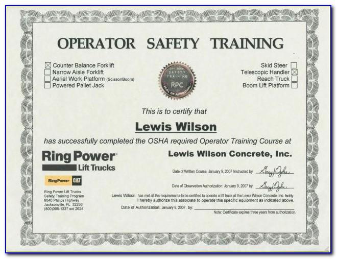 Forklift Certification Card Template Xls