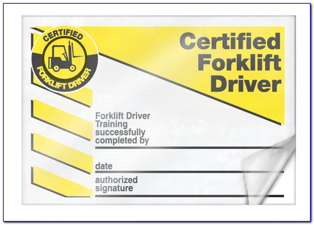 Forklift Certification Template Pdf